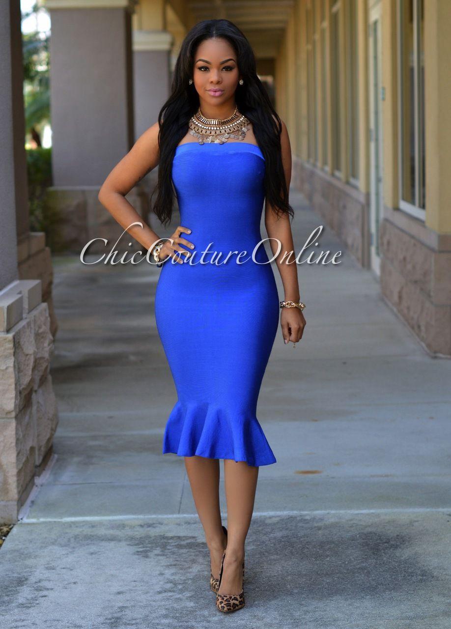 Chic Couture Online - Elvira Royal-Blue Knit Peplum Dress, (http ...