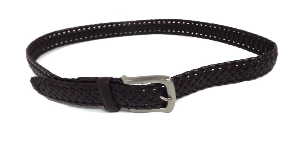 MENS Quality Dark Brown Braided  Leather Belt Silver  Buckle Size 34 #unbranded