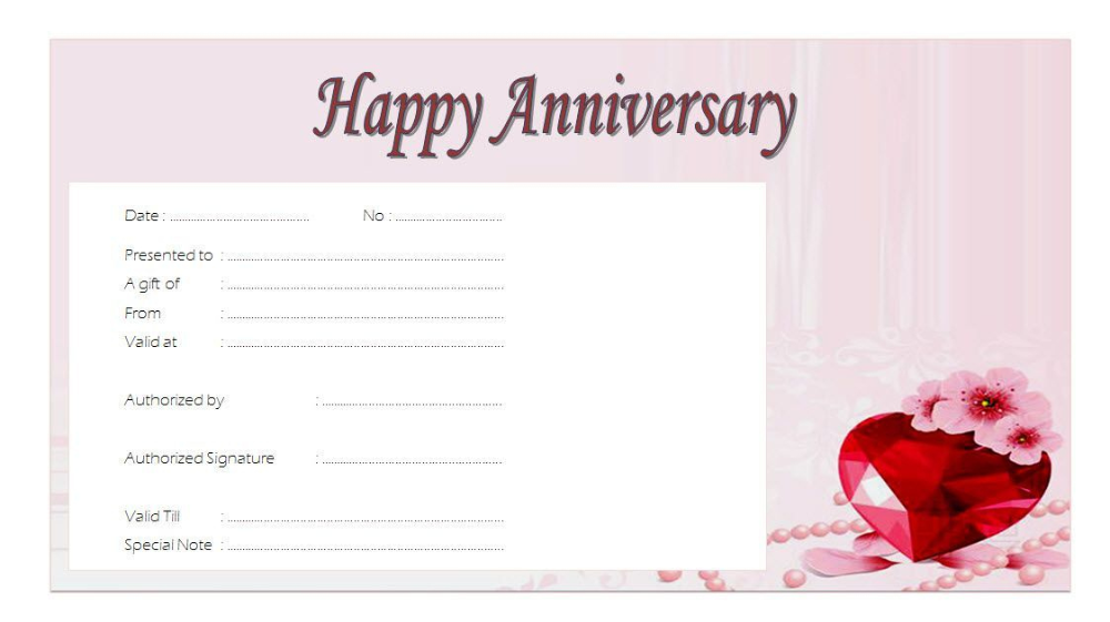 Download 2020 Template Ideas Of Anniversary Gift Certificate For Best Anniversary Gift In 2021 Voucher Template Free Best Anniversary Gifts One Year Anniversary Gifts