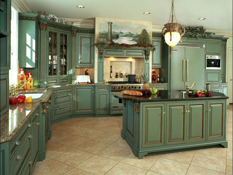 Green french country kitchen cabinets blue and green for Country kitchen cabinets