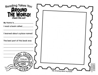 book report & bookmarks--Reading Around the World