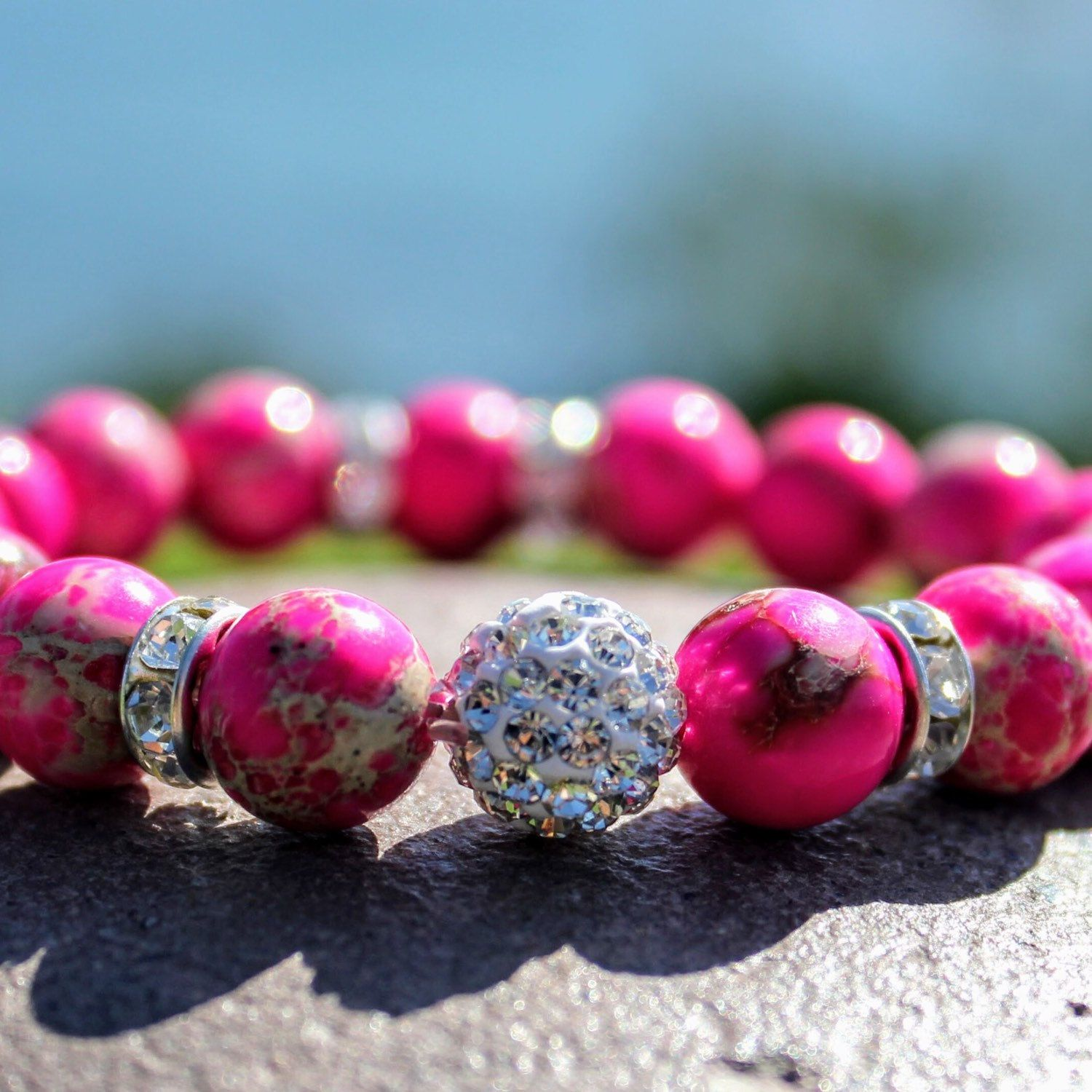 Blingy Pink Jasper Mala Gemstone Bracelets  Perfect for Spring and Summer fashion! Shop more colors and styles!   Shop Now:   www.etsy.com/shop/AshleyNicoleByJulie