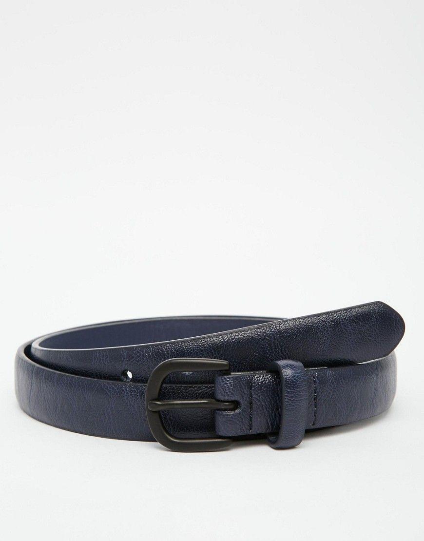 Imagen 1 de Cinturón de vestir de efecto cuero en azul marino de ASOS de49ad664cb8