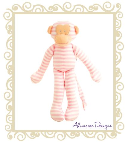 Alimrose Designs Stripe monkey Pink  Alimrose designs stripe monkey rattle - pink. This classic from Alimrose is sure to delight with his cheeky face and long arms and legs. A great gift for baby! Approx 30cm.  $28.95
