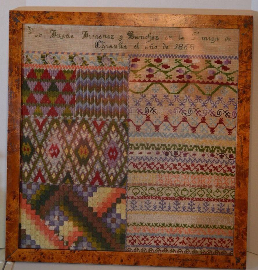 Antique needlepoint sampler framed sanchez