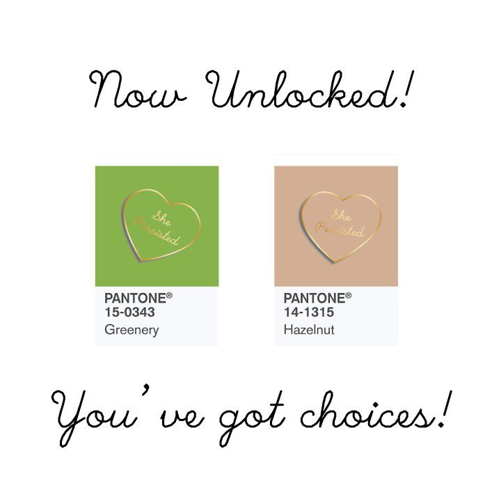 Now Unlocked! #shepersisted #enamelpin  in Pantone's 2017 color of the year #greenery