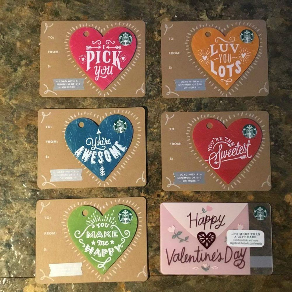 6 New Starbucks 2017 Valentines Day Gift Cards Lot Starbucks Cards