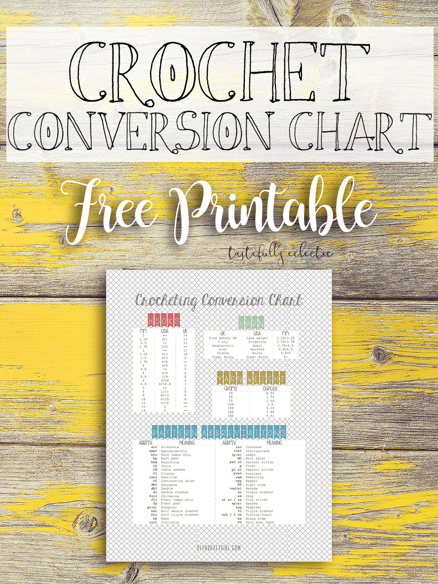 Free Crochet Conversion Chart Printable Crochet Tips And Sheets