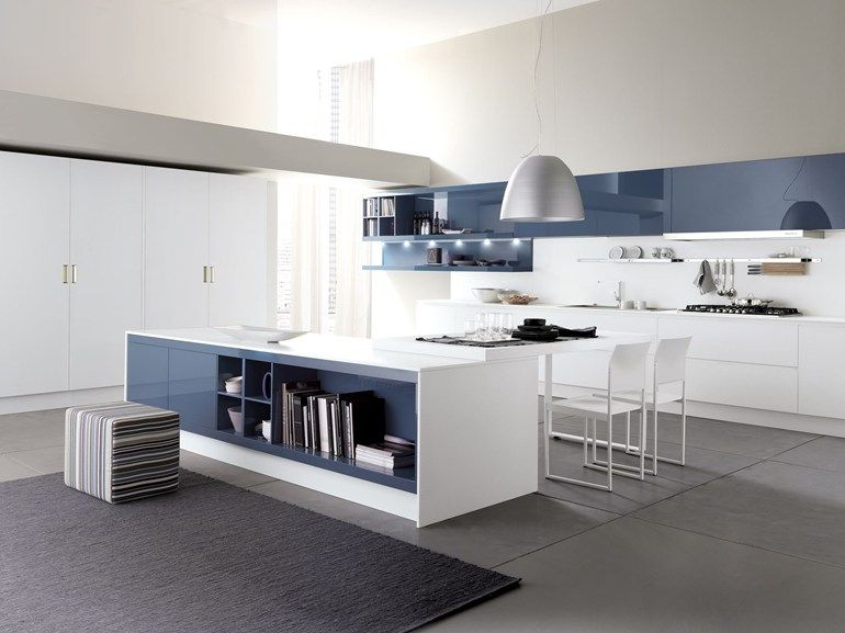 Lacquered Linear Kitchen With Island City By Febal Design
