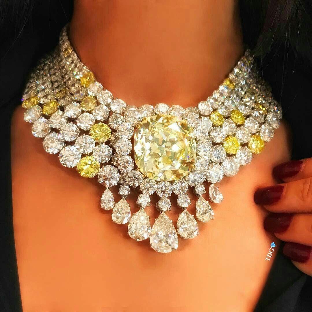 Photo of A Gorgeous Yellow Diamond and Diamond Necklace