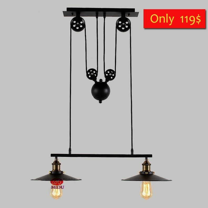2 Heads Loft Vintage Pendant Lights Iron Pulley Lamp Bar Kitchen Home  Decoration E27 Edison Light