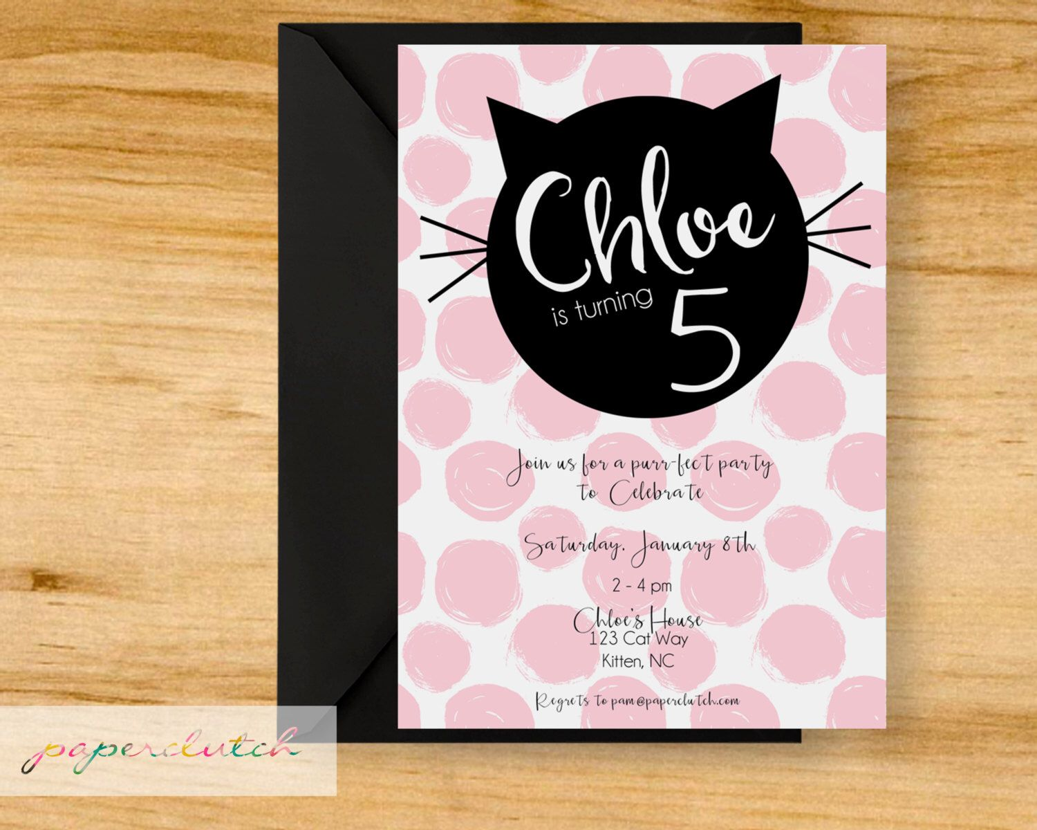 Cat birthday party invitation pink poka dot kitten darling kitty cat kitten birthday party invitation pink and black digital file or printed by paperclutchshop on etsy filmwisefo