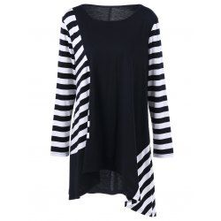 SHARE & Get it FREE | Plus Size Striped Color Block Asymmetric T-ShirtFor Fashion Lovers only:80,000+ Items • FREE SHIPPING Join Twinkledeals: Get YOUR $50 NOW!