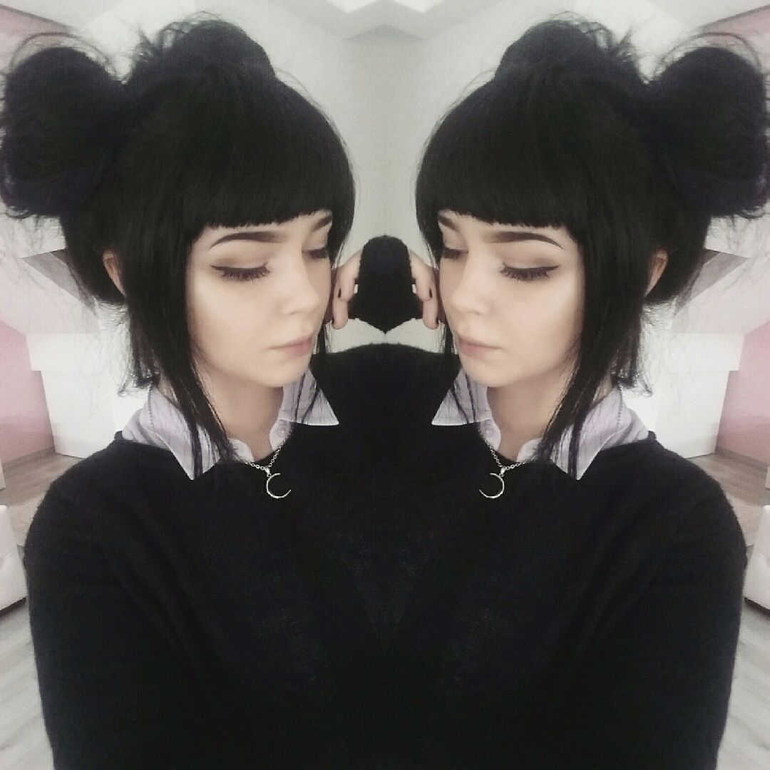 I love the black hair and the style of her bangs hair inspo