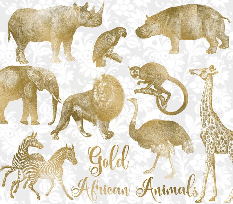 Vintage Gold African Animals Clipart Antique Safari Etsy Animal Clipart African Animals Clip Art