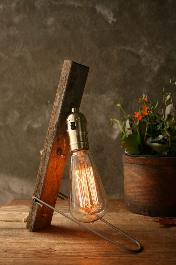 Lamp Industrial Light Wood Lamp Industrial Lighting Cool Gifts For Men  Edison Bulb Lamp   Weathered
