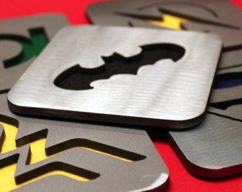 Modern Bat Coasters Set of 4 Steel by ApocalypseFab on Etsy