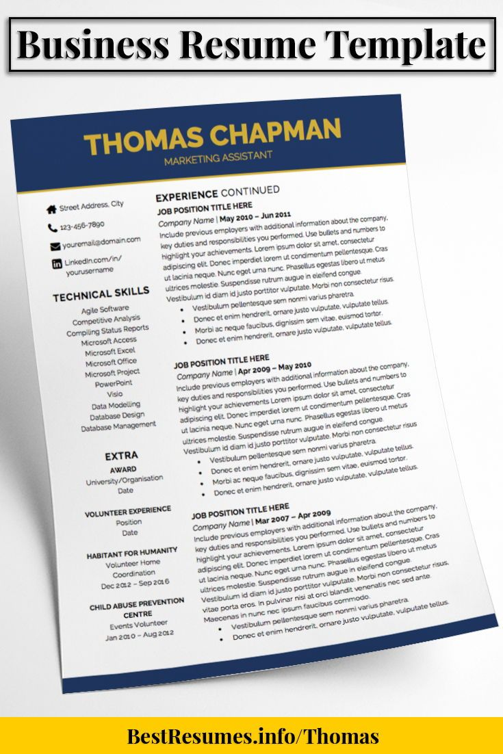 Resume Template Thomas Chapman  Business Resume Template Business