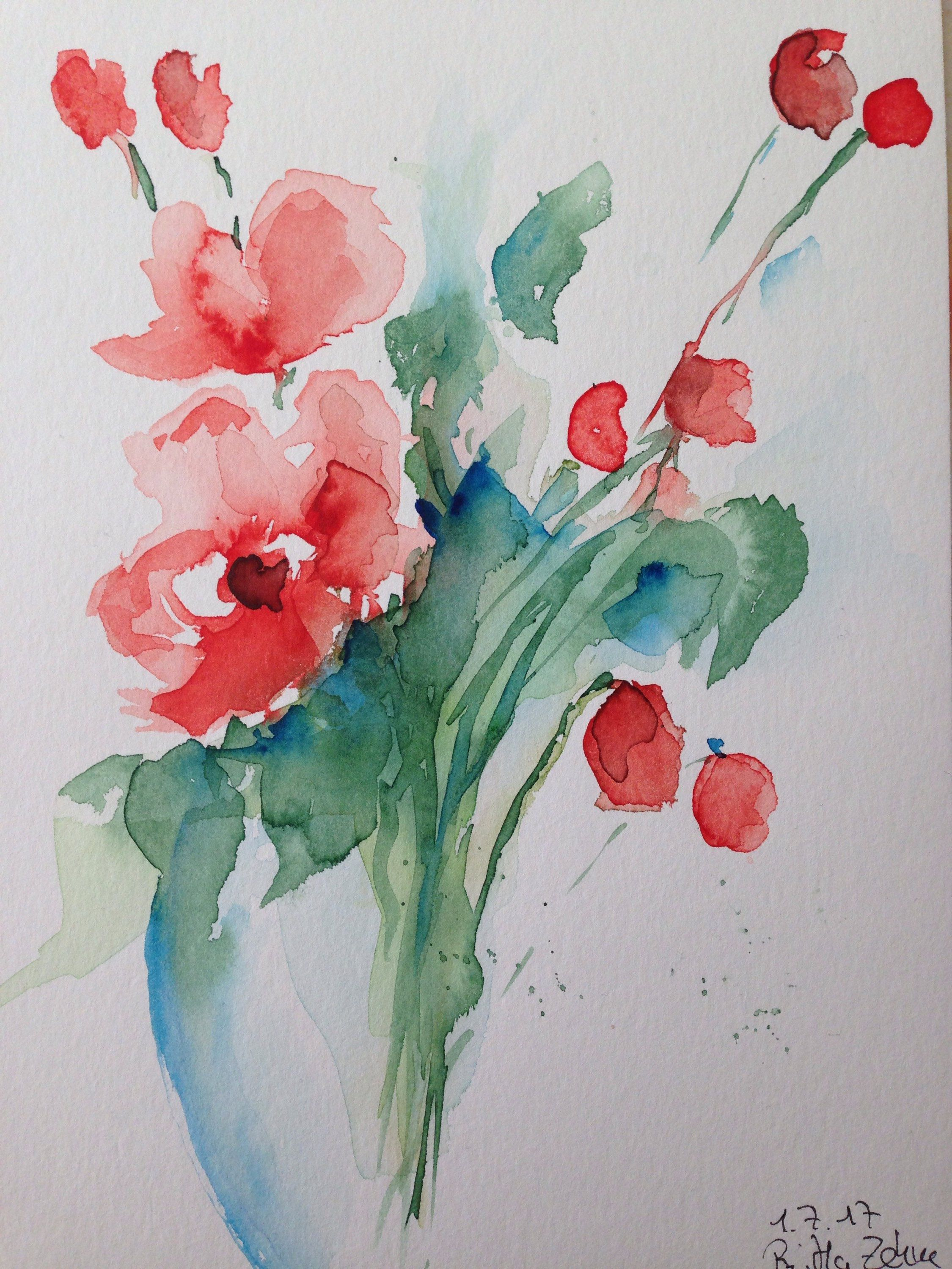 Original Watercolor Flower Bouquet Floral Picture Watercolor Painting Flowers Nature Abstract Painting Aquarellmalerei Aquarell Blumen Aquarell