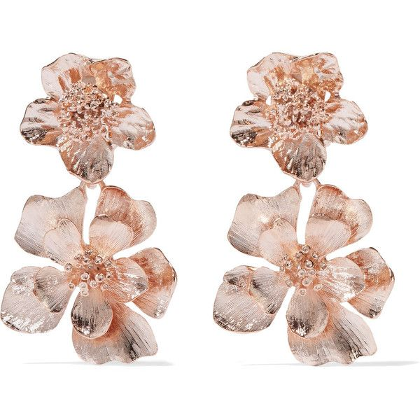 6898b2a60ac Oscar de la Renta Rose gold-plated clip earrings (€320) ❤ liked on Polyvore  featuring jewelry, earrings, oscar de la renta, floral earrings, ...