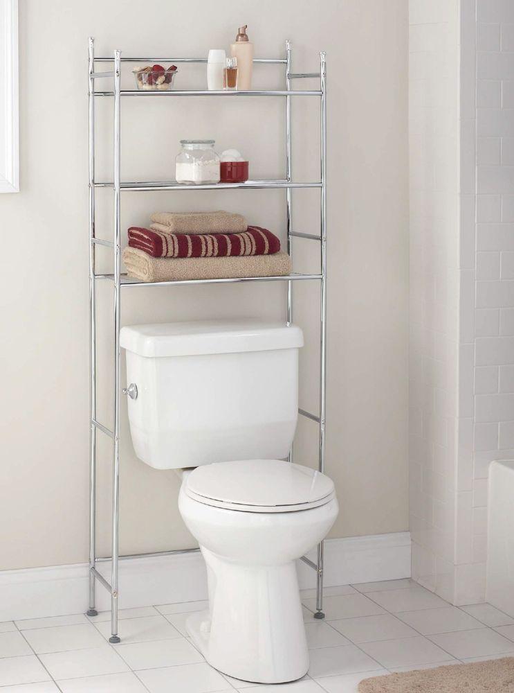 Bathroom Space Saver Over The Toilet 3 Tier Storage Shelf Metal Organizer Rack Mainstays Bathroom Space Saver Chrome Bathroom Shelves Toilet Storage