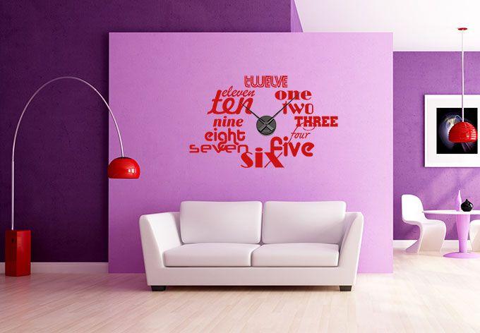 wandtattoo typographie worte wanduhr dream home pinterest wandtattoo uhr wanduhren und. Black Bedroom Furniture Sets. Home Design Ideas