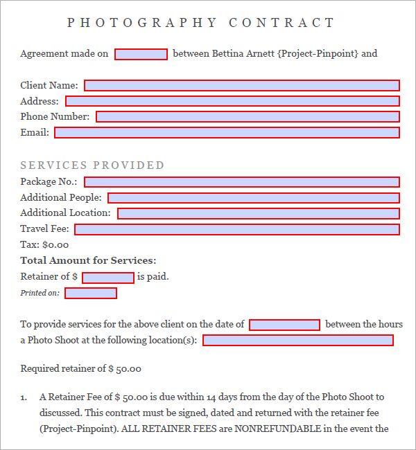 Photography Contract   Free Pdf Download  Sample Templates