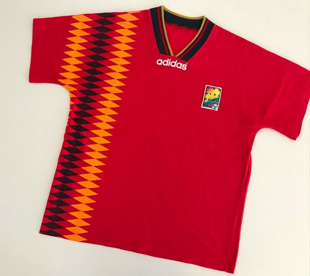 Spain 1994 National Adidas Home Football Shirt L Mens Vintage Soccer Jersey Ebay In 2020 Vintage Football Shirts Football Shirts Soccer Shirts