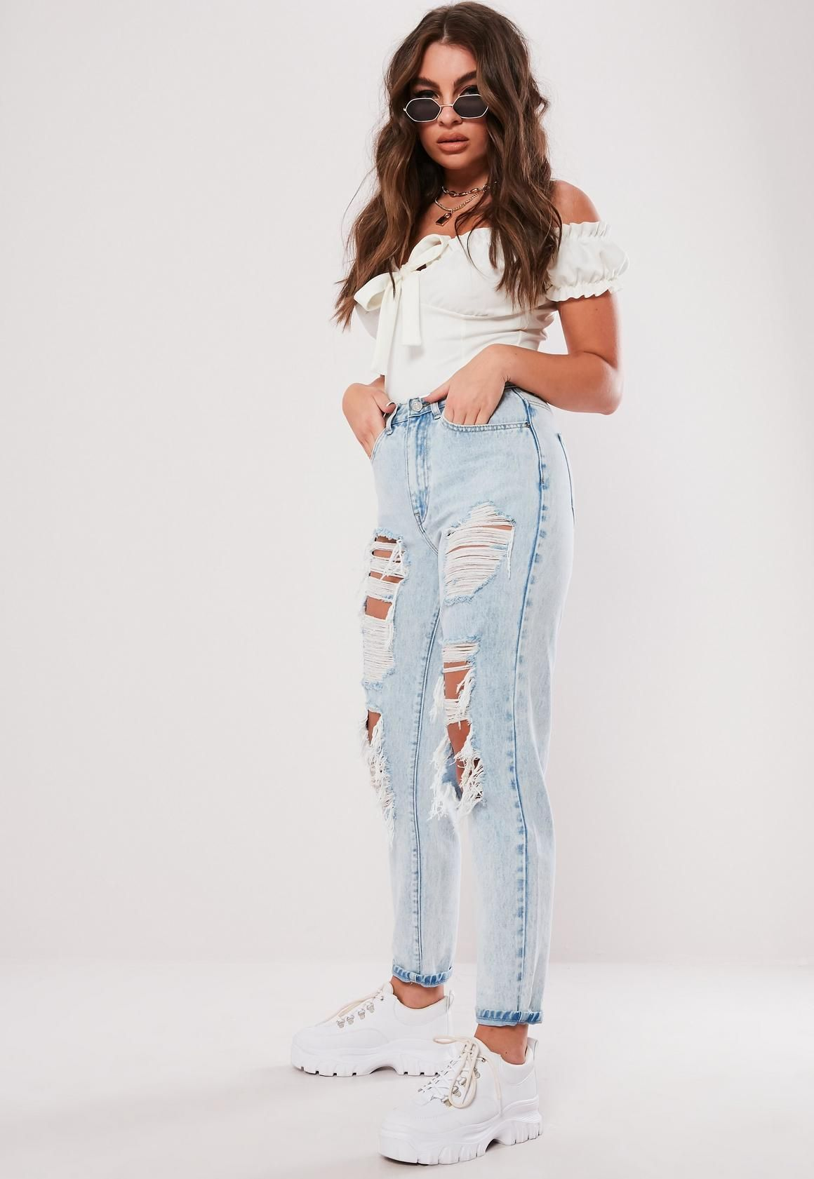 7ece1c62c247 light blue distressed look vintage high rise mom style jeans with ripped  detail at the front and belt loops. regular fit ankle grazer - sits on the  ankle ...