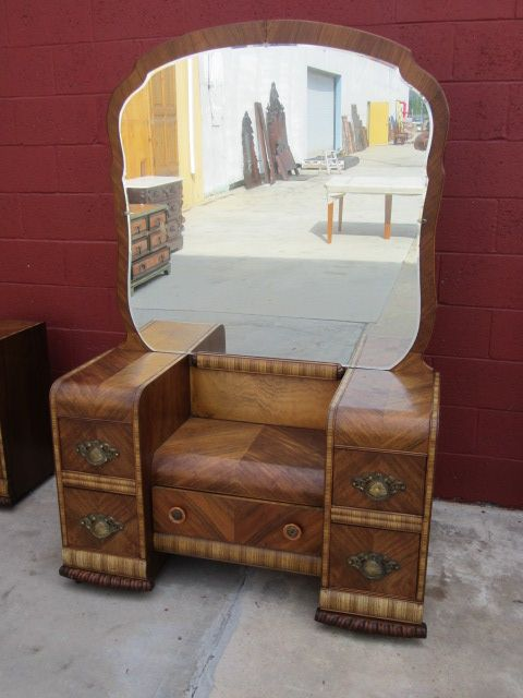 This is a stunning American waterfall art deco vanity that dates from The  vintage American dresser is 70 tall, 45 wide, 18 deep, the - American Vanity Dresser Art Deco Waterfall Bedroom Furniture Fun