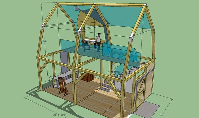Small timber frame studio as Sketchup model Imagine if the ... on Sketchup Backyard id=13794