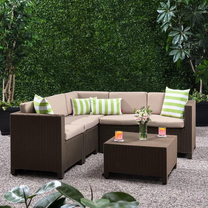 Dudek Outdoor 6 Piece Sectional Seating Group With Cushions Sofa