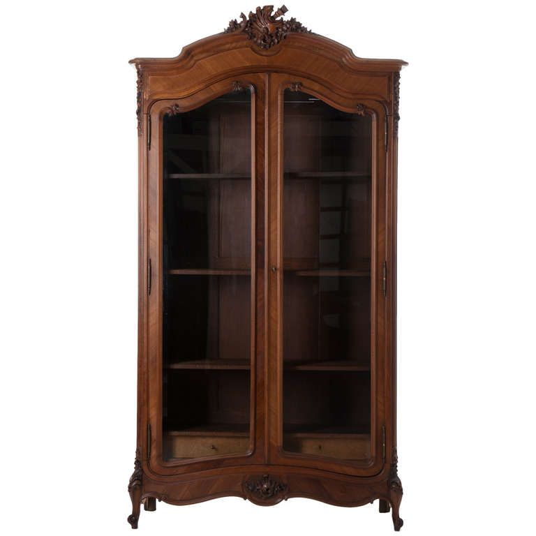French 20th Century Walnut Louis XV Armoire Or Display Cabinet. Modern  WardrobeDisplay ...