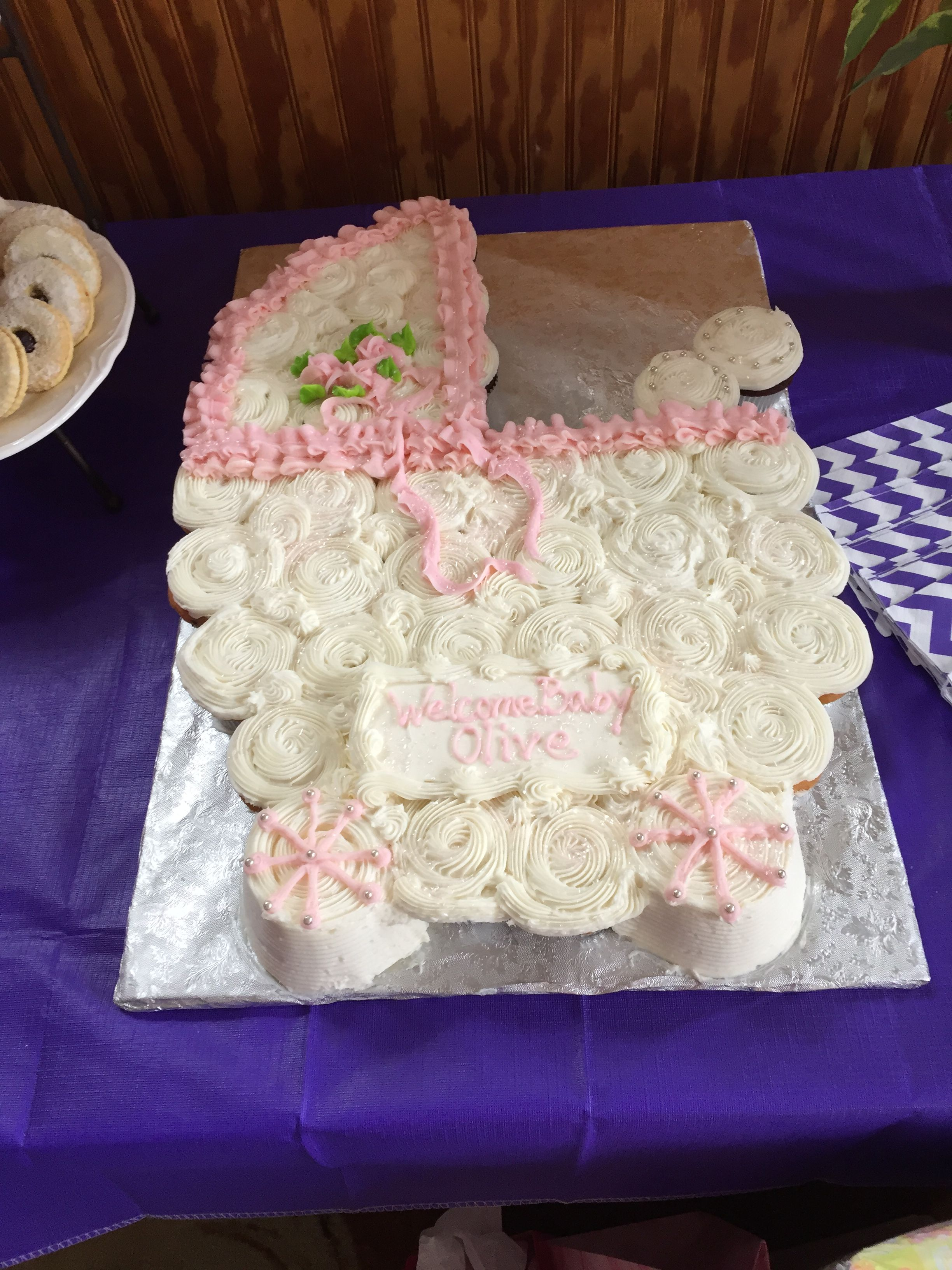 Baby stroller cupcake cake bakery made from pic in