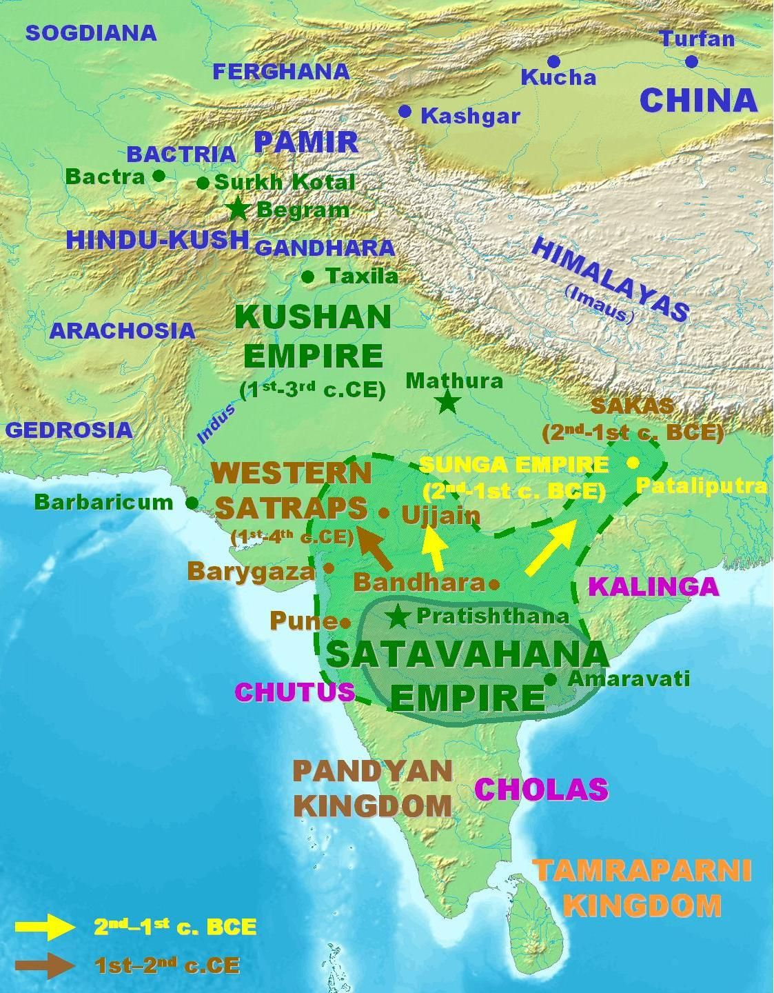 The Satavahana dynasty had its roots in Kotilingala on the