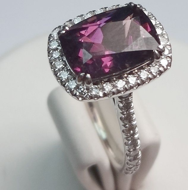 Gemstone Engagement Rings Chicago: Purple Garnet Engagement Ring - $2,900