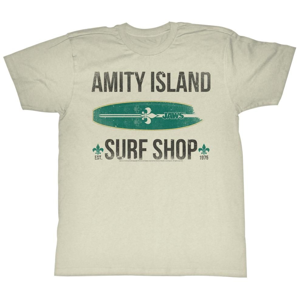 Jaws Amity Island Surf Shop 1975 Adult T Shirt Great Classic Movie