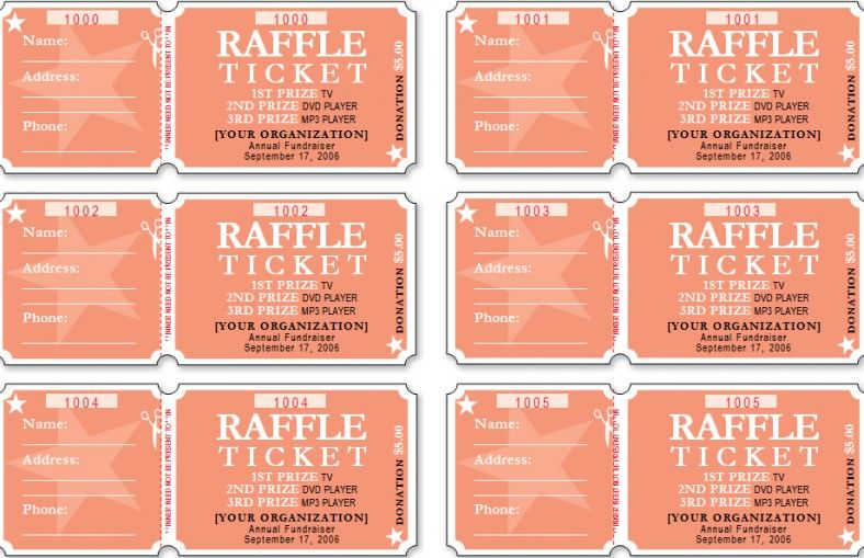 High Quality Raffle Ticket Template,free Raffle Ticket Template Within Free Numbered Raffle Ticket Template