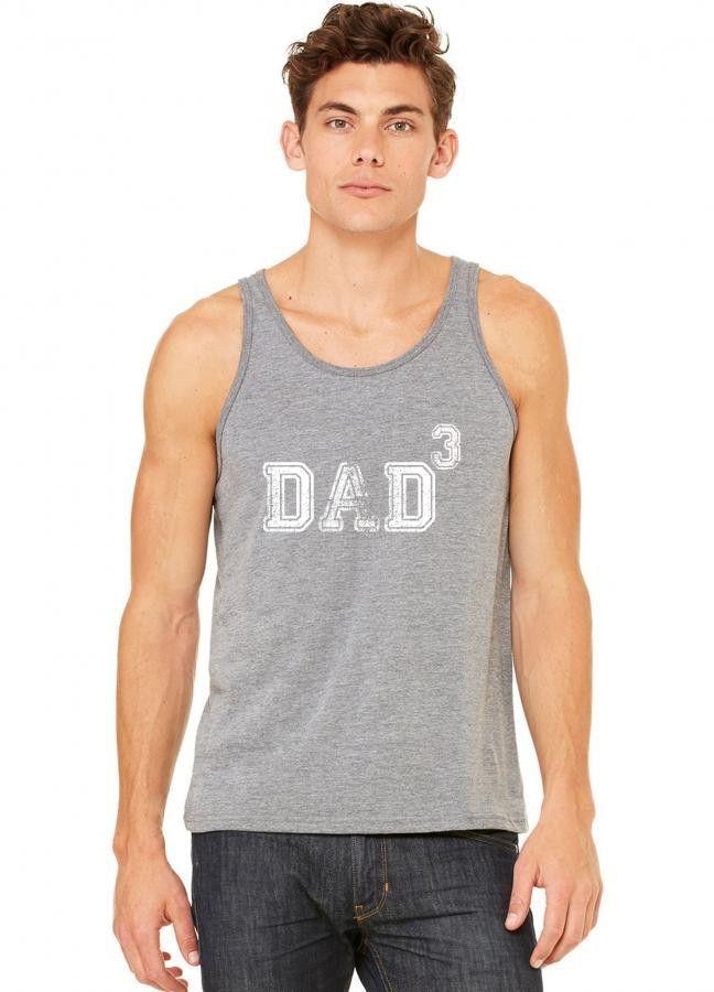 dad of 3 1 tank top
