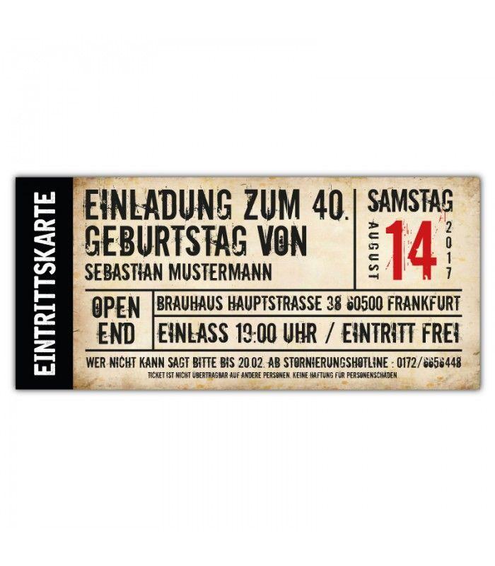 Einladungskarte Einladung Als Ticket  30. 40. 50