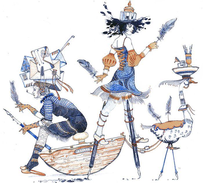 Просмотреть иллюстрацию Чернильница,из серии сбежавшие предметы из сообщества русскоязычных художников автора Фролов Петр в стилях: Графика, нарисованная техниками: Смешанная техника.