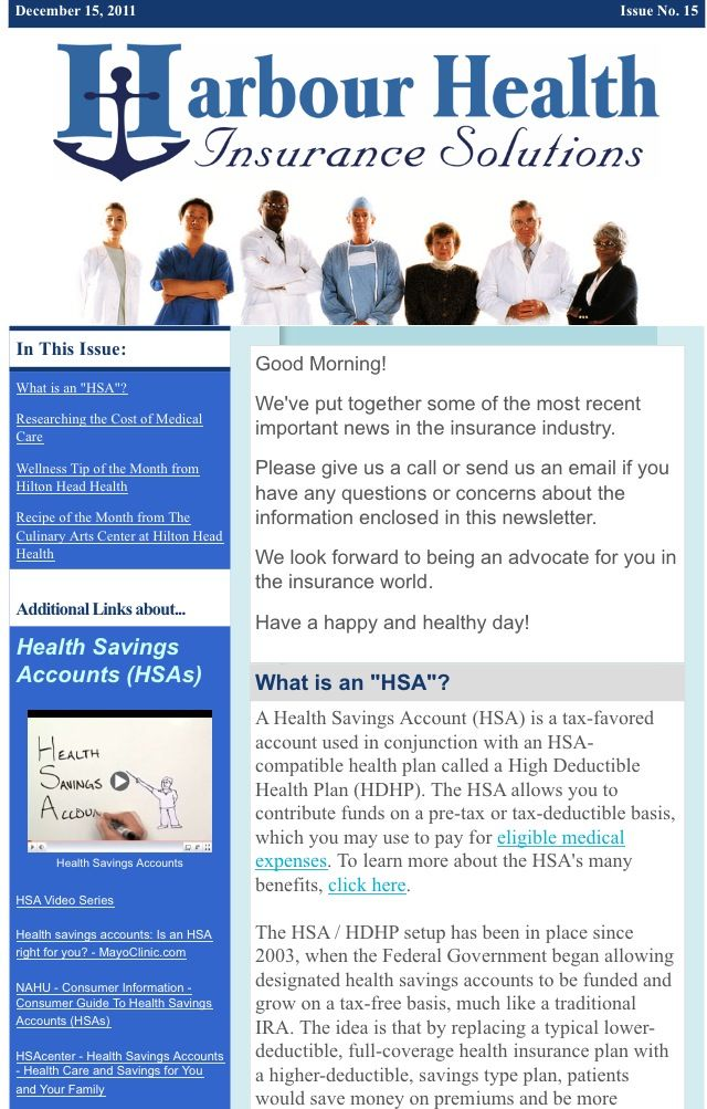 December  Newsletter  In This Issue What Is An Hsa