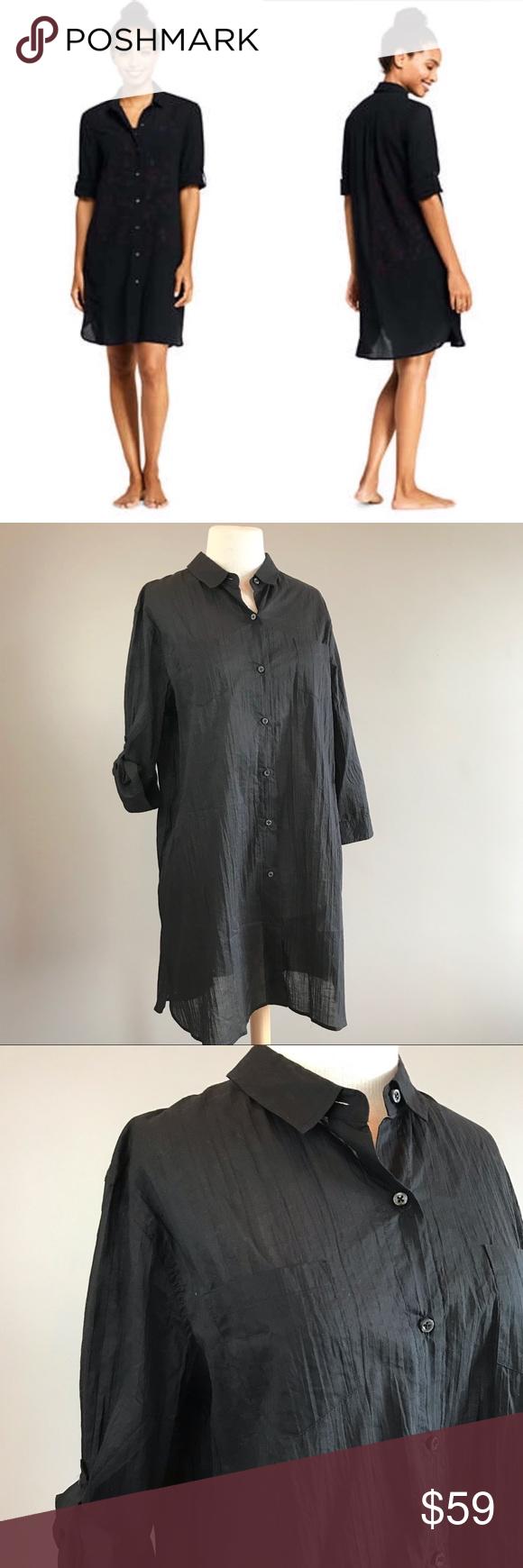408170fc5fab9 Lands End NEW crinkle black shirt dress cover up Lands End womens crinkle  cotton black shirt