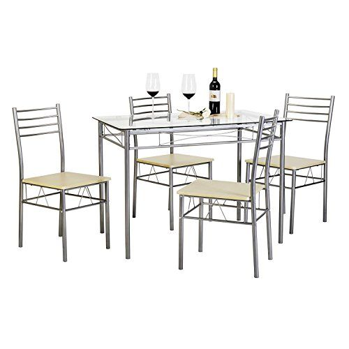 Svitlife Kitchen Dining Table Set,Glass Table and 4 Chairs(Black