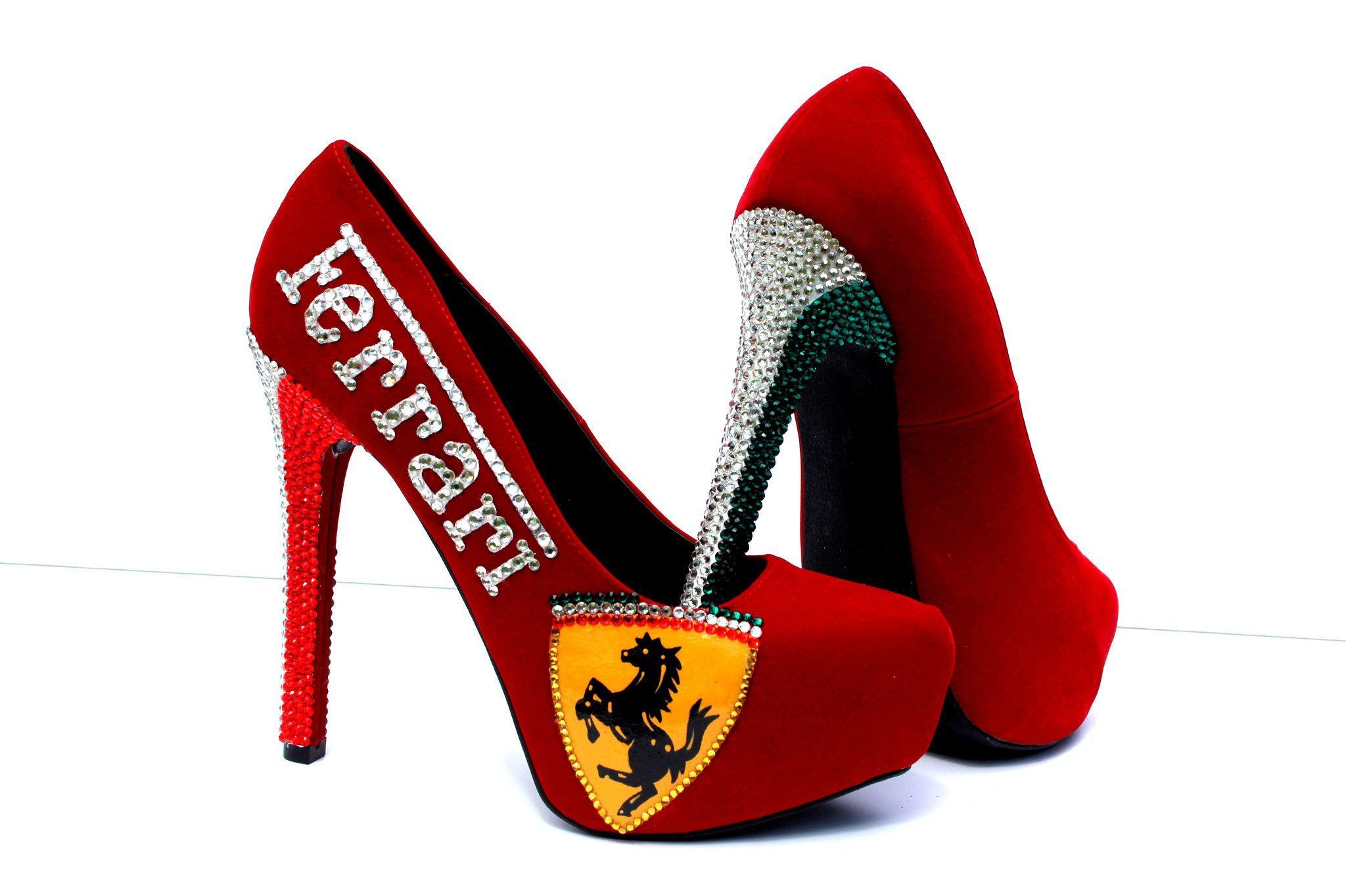 Red With Italian Heels FlagFerrari Crystal Ferarri wPvNymn08O