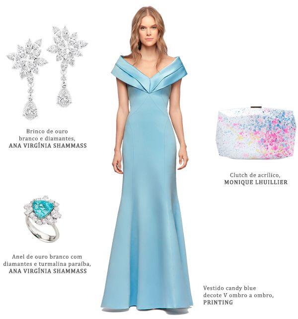 2e69689f3 Look madrinha: vestido azul claro Printing + brincos de diamantes Ana  Virginia Shammass + clutch Monique Lhuillier + anel de turmalina paraíba e  diamantes ...