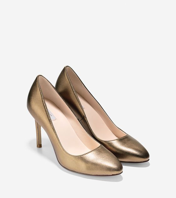 Womens Shoes Cole Haan Fair Haven Pump Gold Metallic