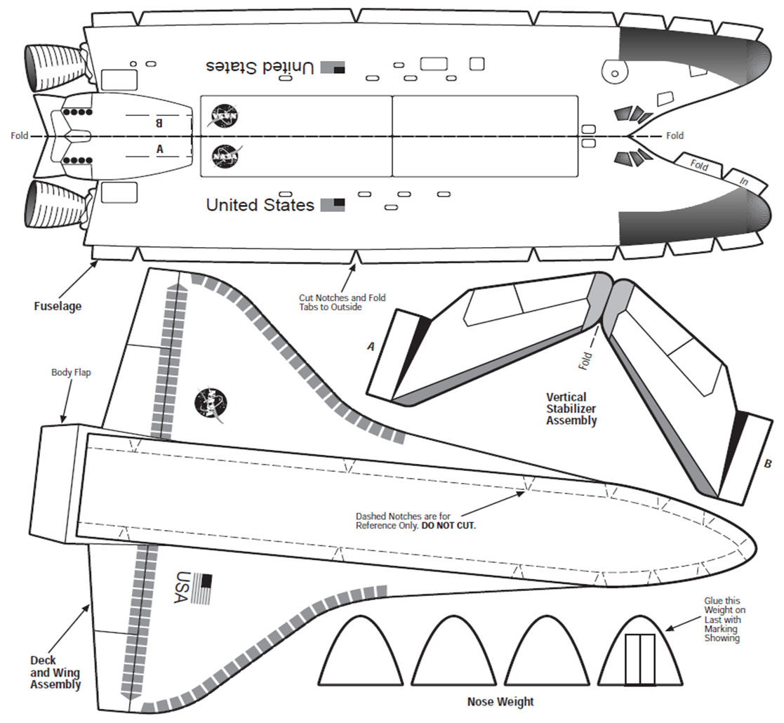 nasa approved  space shuttle glider assemble a basic scale model of the space shuttle as a hands