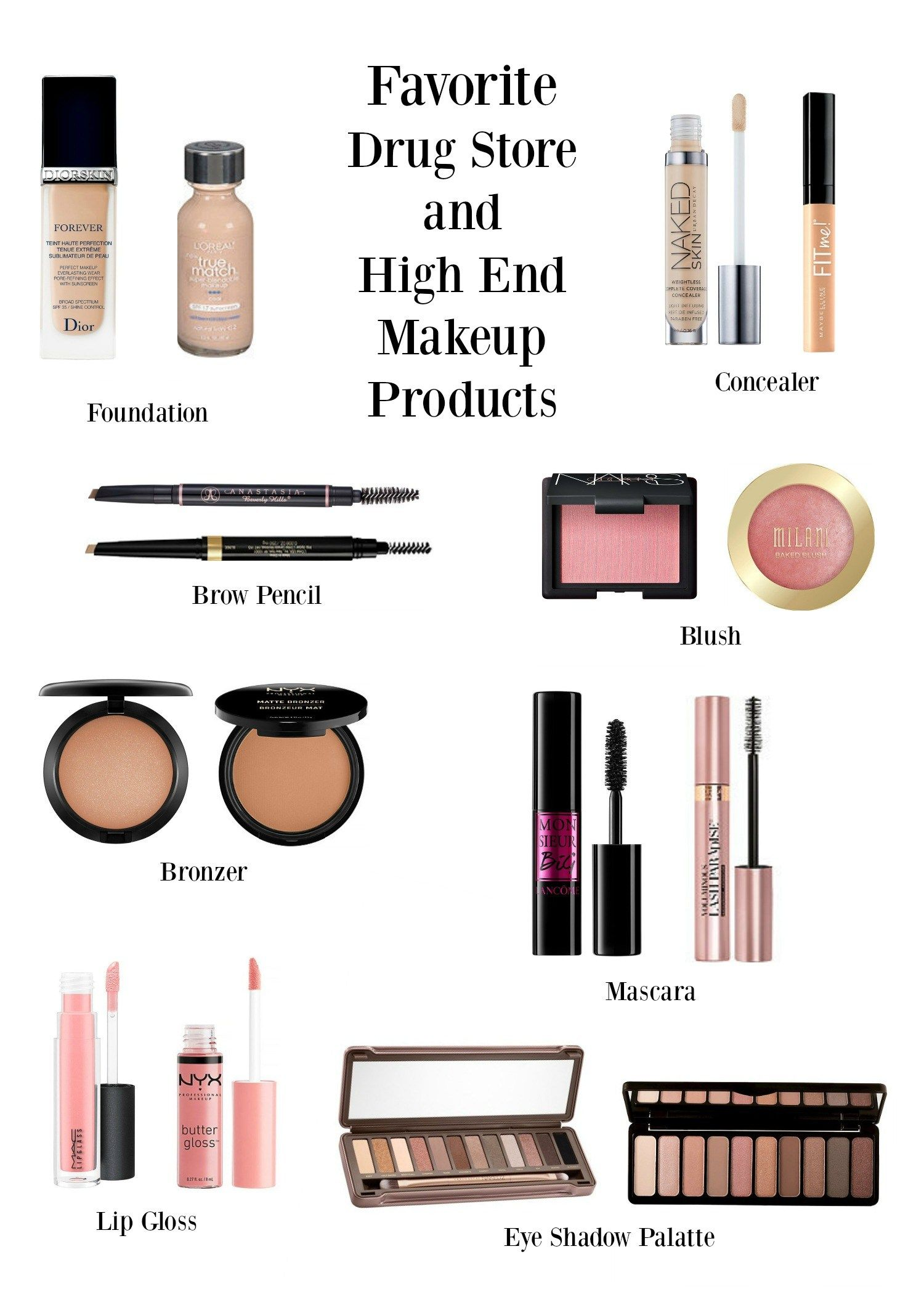 Favorite Drug Store and High End Makeup Products Makeup