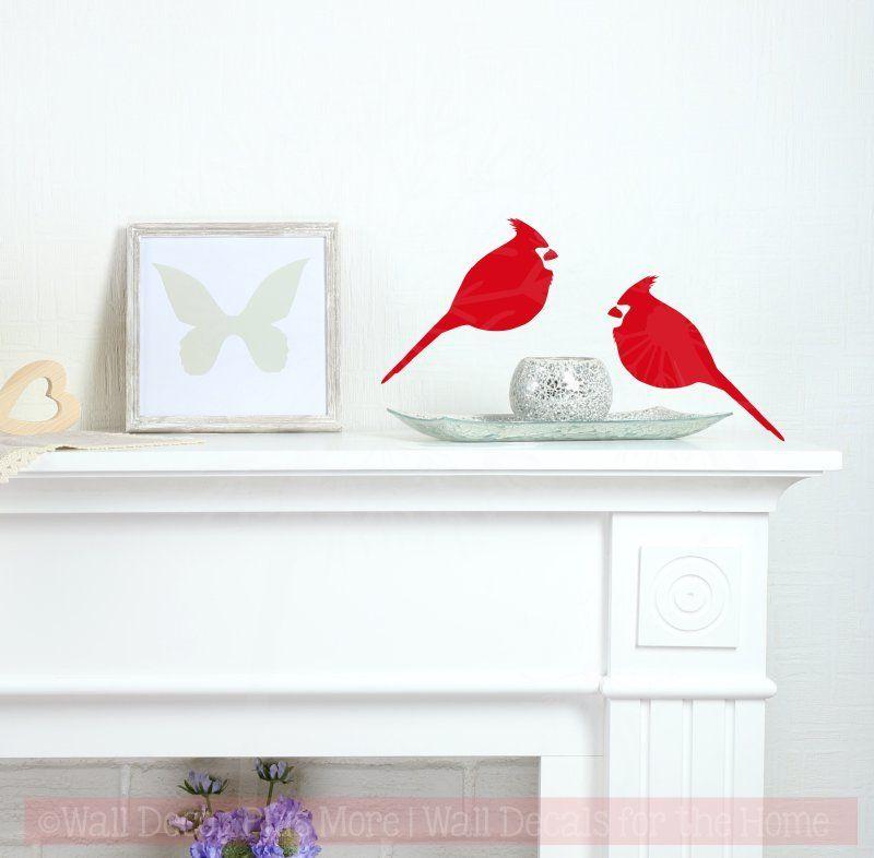 Cardinal Set Of 2 Bird Wall Decals Vinyl Art Christmas Home Decor With Images Vinyl Wall Decals Bird Wall